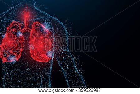 Human Lungs. Respiratory Virus And Coronavirus Outbreak And Coronaviruses Influenza. Lines, Triangle