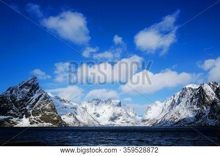 Winter landscape in Lofoten Archipelago, Norway, Europe