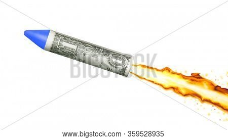 Take off dollar bill rocket to launch encourage the economic financial crisis.