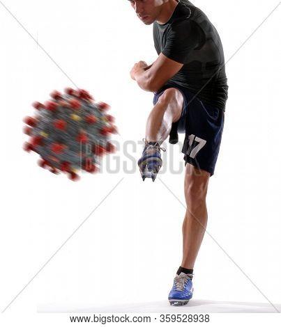 Football player kick the coronavirus molecule structure ball on destroy concept.