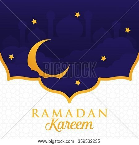 Ramadan Kareem Greeting Card, Ramadan Kareem Background. Ramadan Kareem Vector, Islamic Arabic Lantern. Ramadan Kareem. Ramadan Kareem Typography Vector Design For Greeting Cards And Poster. Greeting Card, Mosque Silhouette Ramadan Illustration