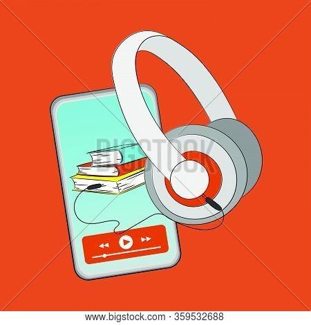 Reading Online Audiobook Smart Phone Listening Sound Book Podcast Internet Vector Illustration Set F
