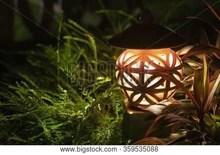 Warm Light From A Street Lamp Located In A Green Park. Night, Glows In The Grass, Outside. Close Up.