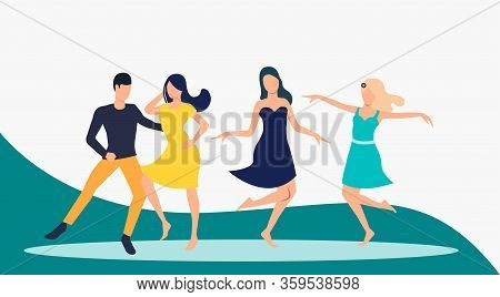 Salsa Dancers Performance. Leisure, Fun, Performance Concept. Vector Illustration Can Be Used For To