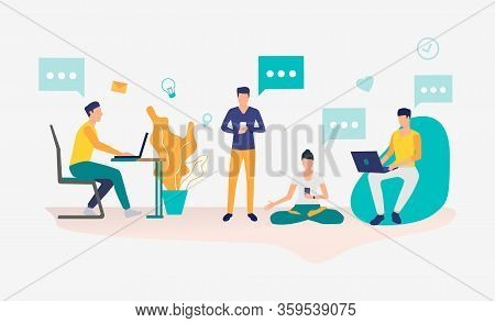 People Working In Coworking Space. Workplace, Worker, Technology Concept. Vector Illustration Can Be