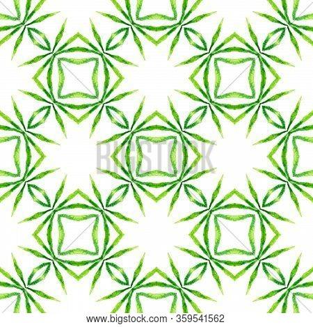 Green Geometric Chevron Watercolor Border. Green Attractive Boho Chic Summer Design. Chevron Waterco