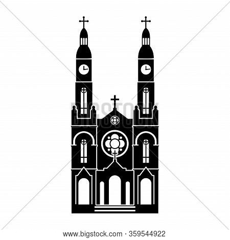 Detailed Black Silhouette Of St. Stanislaus Catholic Church In Milwaukee (united States) On A White