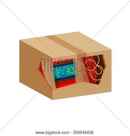 Blast Bomb Of Terrorist In The Crate Box Waste Isolated On White, Explode A Bomb Dynamite With Clock