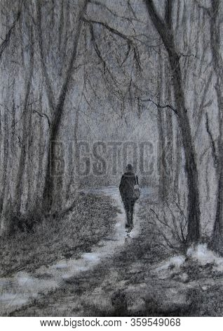 Landscape With A Lonely Figure In The Alley, Leaving Into The Fog. Charcoal Drawing.