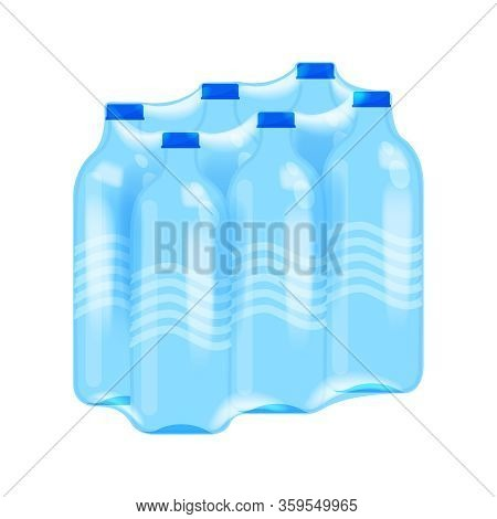 Drinking Water Bottle Six Pack In Plastic Wrap Isolated On White, Bottle Water Drink In Shrink Film