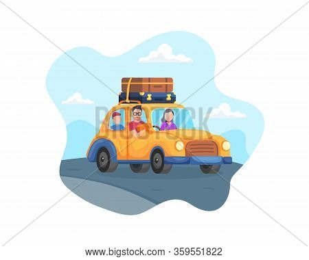 Vector Happy Family Trip By Car. Family Traveling By Car On The Countryside Road, Family Father, Mot