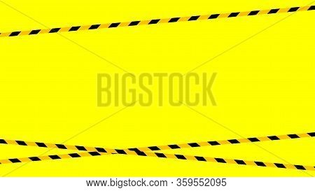 Tape Line Yellow Black Stripe Pattern On Yellow For Background, Warning Space With Ribbon Tape Sign