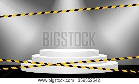 Tape Line Yellow Black Stripe On Pedestal Stage Room, Warning Space With Ribbon Tape Sign And Podium