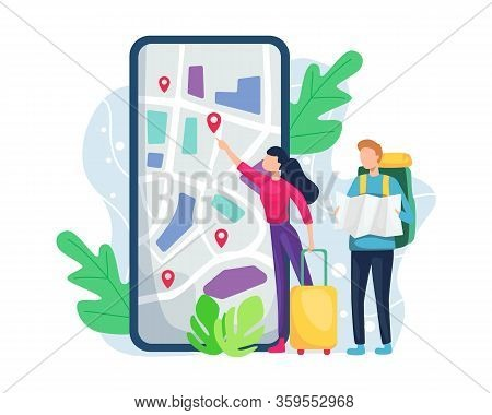 Vector Illustration Traveler Looking For Location. Tourist With A Backpack And Luggage Is Watching A