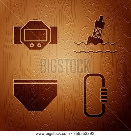Set Carabiner, Diving Watch, Swimming Trunks And Floating Buoy On The Sea On Wooden Background. Vect
