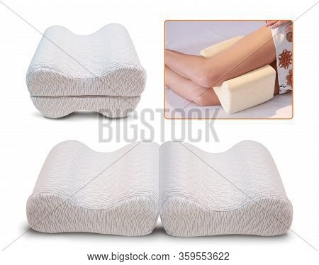 Orthopedic Leg Pillow, Orthopedic Foot Pillow With Memory Effect. Comfort Memory Pillow Under The He