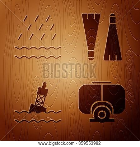 Set Diving Mask, Rain And Waves, Floating Buoy On The Sea And Rubber Flippers For Swimming On Wooden