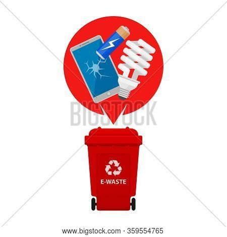 Electronic Waste And Red Recycling Plastic Bin Isolated On White Background, Bin Plastic And E-waste