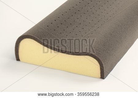 Orthopedic Pillow With A Memory Effect. Medical Treatment Pillow. Foam Rubber. Comfort Memory Pillow