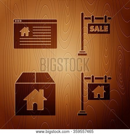 Set Hanging Sign With Text Sale, Hanging Sign With Text Online Sale, Cardboard Box With House And Ha