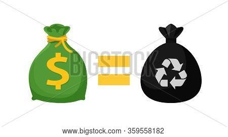 Icon Money Bag And Garbage Bags, Symbol Of Sack Garbage Waste And Money Trade, Waste Exchange Busine