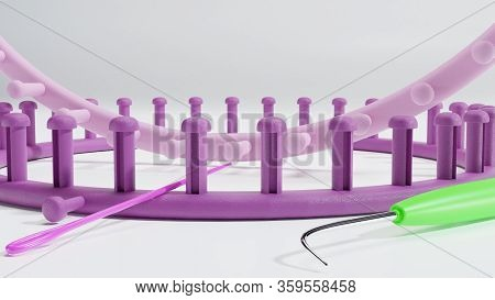 3d Illustration Of Round Knitting Looms, With Needle And Loom Pick