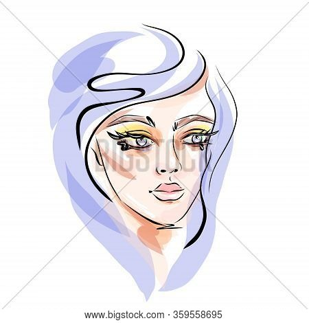 Hand-drawn Young Beautiful Girl With Makeup And Unusual Violet Hair. Fashion Illustration Of A Styli