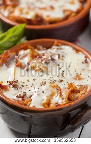 A Traditional Dish From Emilia-romagna, Lasagne Alla Bolognese Is Made With Egg Pasta, Béchamel Sauc