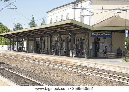 Mogliano Veneto, Italy, July 1, 2017: A Nice Look At The Trainstation, People Are Waiting On The Pla