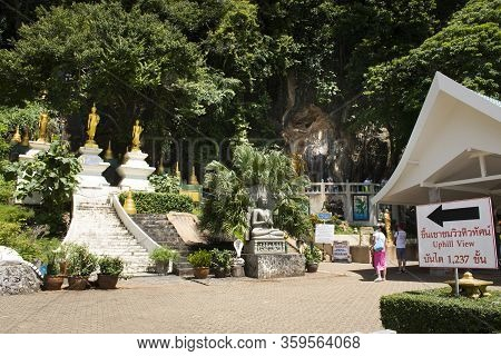 Thai People And Foreign Travelers Travel Visit And Walking Up For Respect Praying God Buddha On Moun
