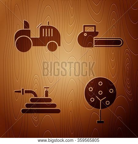 Set Tree, Tractor, Garden Hose Or Fire Hose And Chainsaw On Wooden Background. Vector