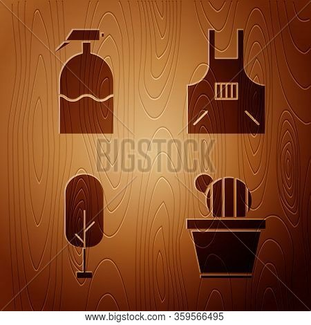 Set Cactus And Succulent In Pot, Garden Sprayer, Tree And Kitchen Apron On Wooden Background. Vector