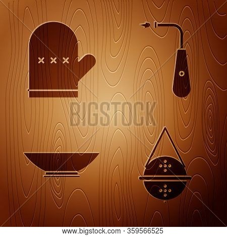 Set Ball Tea Strainer, Oven Glove, Bowl And Long Electric Lighter On Wooden Background. Vector