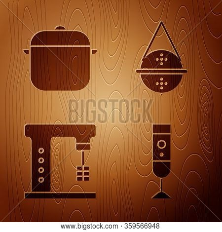 Set Blender, Cooking Pot, Electric Mixer And Ball Tea Strainer On Wooden Background. Vector