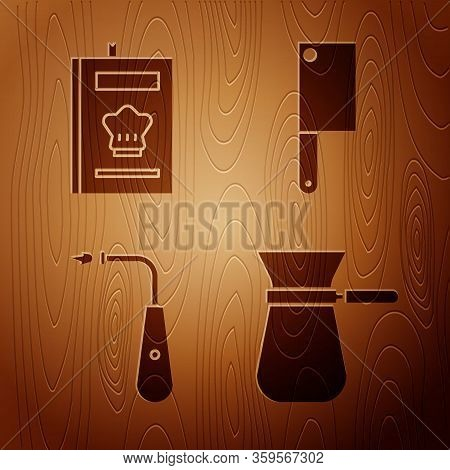 Set Coffee Turk, Cookbook, Long Electric Lighter And Meat Chopper On Wooden Background. Vector