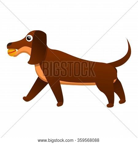 Happy Dachshund Icon. Cartoon Of Happy Dachshund Vector Icon For Web Design Isolated On White Backgr