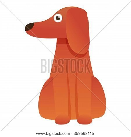 Standing Dachshund Icon. Cartoon Of Standing Dachshund Vector Icon For Web Design Isolated On White