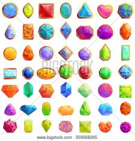 Jeweler Icons Set. Cartoon Set Of Jeweler Vector Icons For Web Design