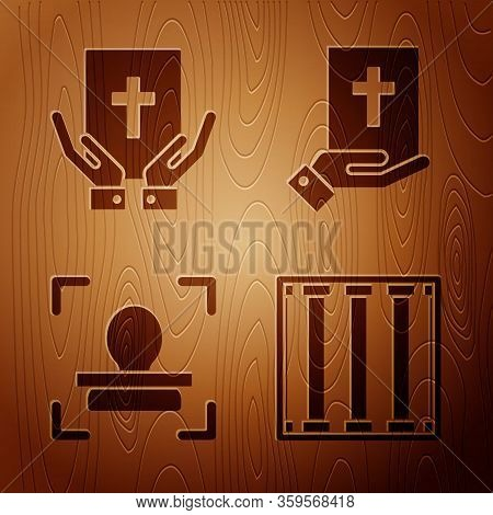Set Prison Window, Oath On The Holy Bible, Face Recognition And Oath On The Holy Bible On Wooden Bac