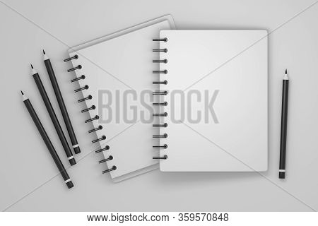 Paper; Notebook; Notes; Writing; Pencil; Black; Black Pencil; Spiral Notebook; Copy Space, Hardcover