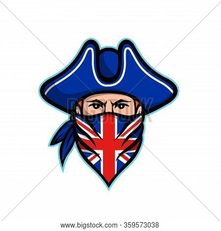 Mascot Icon Illustration Of Head Of A British Highwayman, A Robber, Bandit Or Outlaw Who Stole From