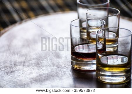 Special Tumbler Glasses For Scotch Whisky, Tasting Tour On Distillery In Scotland, Uk And Dark Tarta