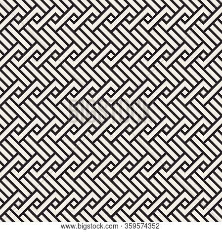 Vector Seamless Pattern. Decorative Geometric Interlaced Lines Design. Monochrome Bold Wavy Stripes