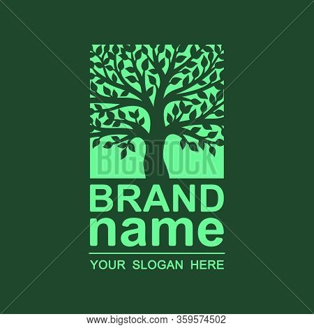 Logo Square Tree On A Dark Green Background. Silhouette Of Lush Foliage And Trunk. Trendy Icon, Styl