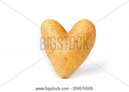Potato In  The Heart Shape On A White