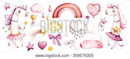 Cute Unicorn Baby Girl. Watercolor Vector Nursery Cartoon Magic Animals, Pink Clouds, Rainbow. Adora
