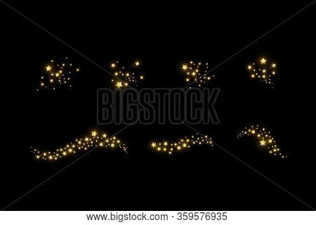 Set Of Starry Cloud With Dust. The Dust Is Yellow Sparks And Golden Stars Shine With Special Light.