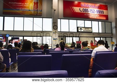 Trang, Thailand - December 24 : Thai People Passenger And Foreign Travelers Wait Check In Go To Plan