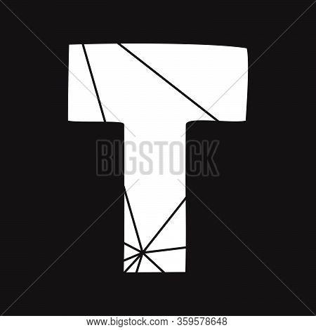 T White Vector Alphabet Letter Isolated On Black Background