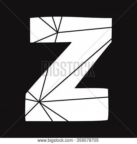 Z White Vector Alphabet Letter Isolated On Black Background